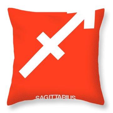 Sagittarius Zodiac Sign White On Orange Throw Pillow