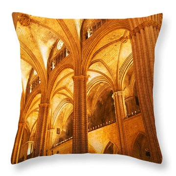 Throw Pillow featuring the photograph Sagrada Familia Barcelona Spain by Cindy Lee Longhini