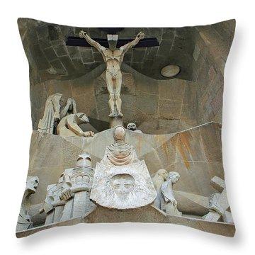 Sagrada Familia Crucifixion Throw Pillow