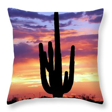 Saguaro At Sunset Throw Pillow