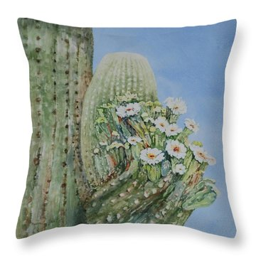 Saguaro Cactus In Bloom Throw Pillow
