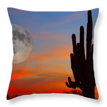 Saguaro Full Moon Sunset Throw Pillow