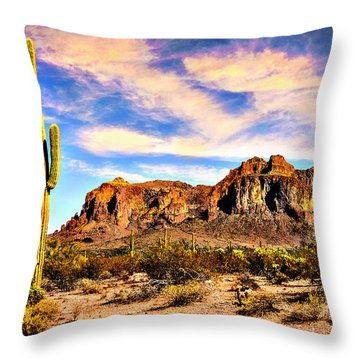 Saguaro Superstition Mountains Arizona Throw Pillow