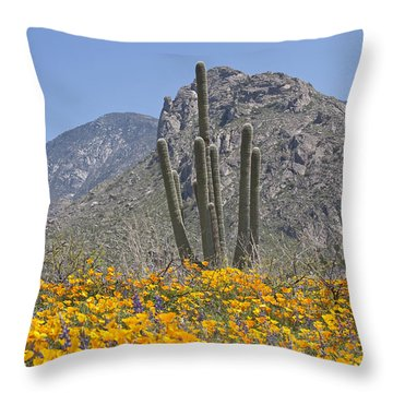 Saguaros And Poppies Throw Pillow by Elvira Butler