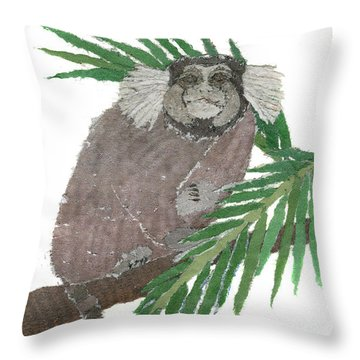 Tamarin Monkey Art Throw Pillow by Keiko Suzuki