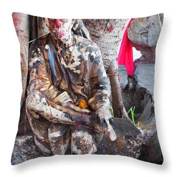 Sai Baba - Resting At Pushkar Throw Pillow by Agnieszka Ledwon