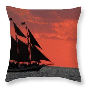 Key West Sunset Sail 5 Throw Pillow