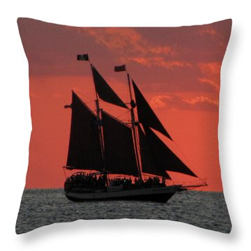 Key West Sunset Sail 5 Throw Pillow