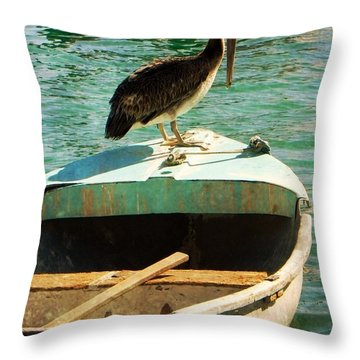 Sail Away Throw Pillow by Leah Moore