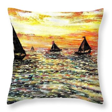 Throw Pillow featuring the painting Sail Away With Me by Shana Rowe Jackson