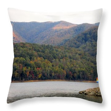 Sail Boat And Mountains Throw Pillow