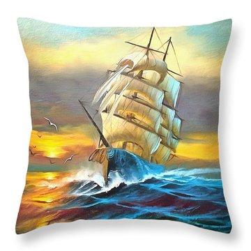 Sail Boat Full Sails Throw Pillow