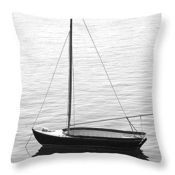 Sail Boat In Maine Throw Pillow by Mike McGlothlen