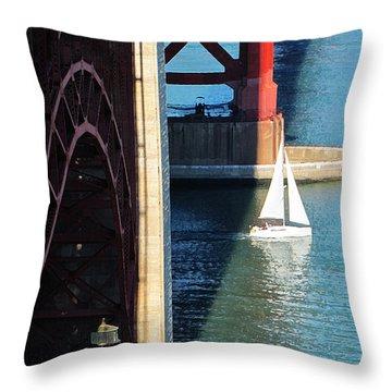 Sail Boat Passes Beneath The Golden Gate Bridge Throw Pillow