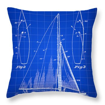 Sail Boat Patent 1925 - Blue Throw Pillow