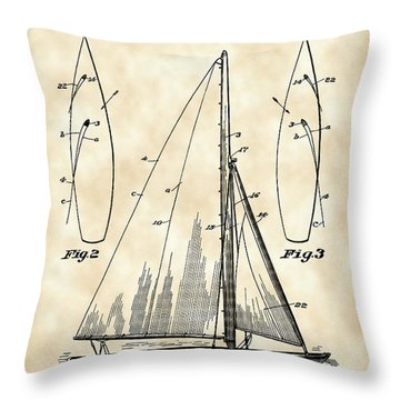 Sail Boat Patent 1925 - Vintage Throw Pillow