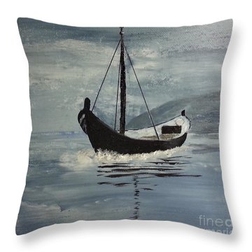 Sail-boat Throw Pillow