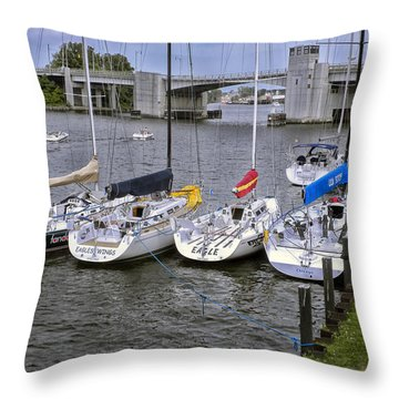 Sail Boats 4 In A Row Throw Pillow by Thomas Woolworth