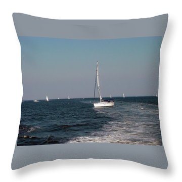 Throw Pillow featuring the photograph Sail Boats In Chesapeake Bay by Dorothy Maier