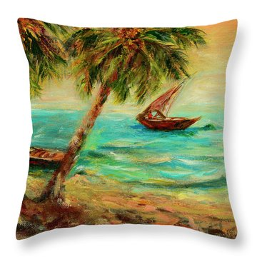 Throw Pillow featuring the painting Sail Boats On Indian Ocean  by Sher Nasser