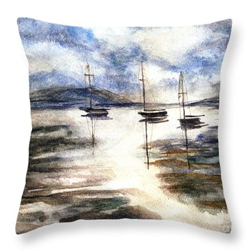 Sail Boats On The Mud Flats Throw Pillow