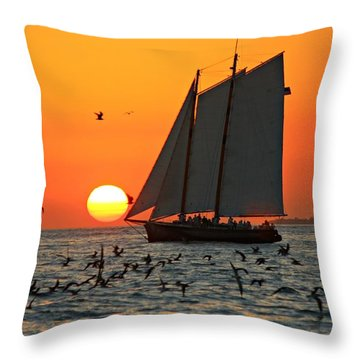 Sail Into The Sunset Throw Pillow by Jo Sheehan