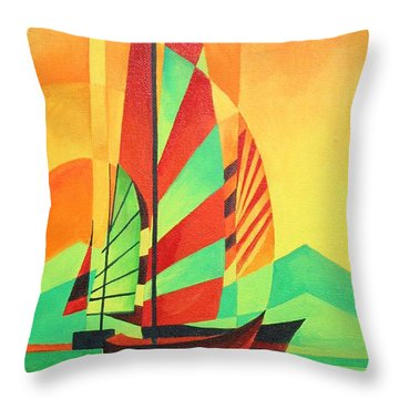 Throw Pillow featuring the painting Sail To Shore by Tracey Harrington-Simpson