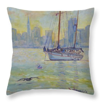 Sailboat Anchored At Sunset Throw Pillow by Dominique Amendola