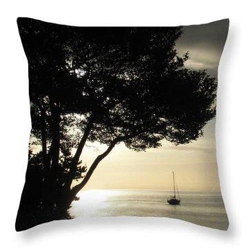 Sailboat At Dawn Throw Pillow