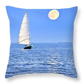 Sailboat At Full Moon Throw Pillow by Elena Elisseeva