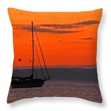Sailboat At Sunset Throw Pillow