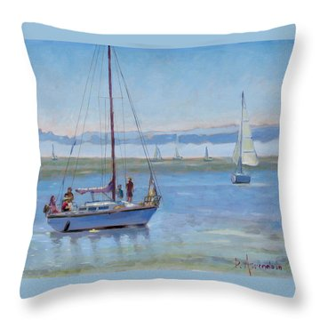 Sailboat Coming To Port Throw Pillow by Dominique Amendola