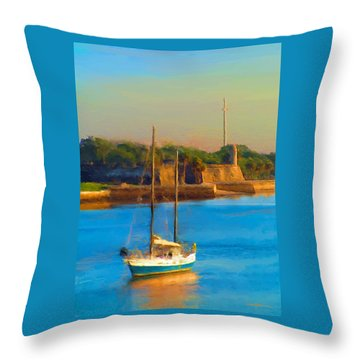 Da147 Sailboat By Daniel Adams Throw Pillow