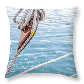Throw Pillow featuring the photograph Sailboat Deadeyes 1 by Leigh Anne Meeks