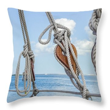 Throw Pillow featuring the photograph Sailboat Deadeyes 2 by Leigh Anne Meeks
