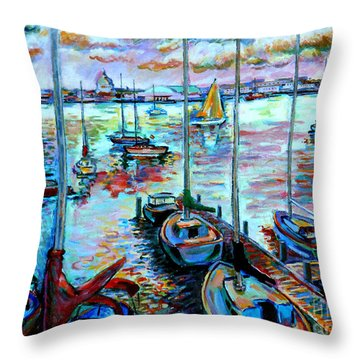 Sailboat Harbor Throw Pillow by Stan Esson