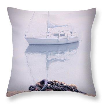 Sailboat In Fog Throw Pillow by Jill Battaglia