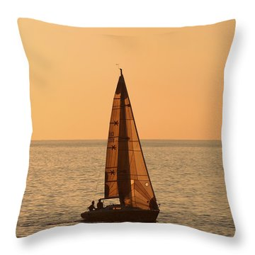 Sailboat In Hawaii Throw Pillow by Kim Hojnacki