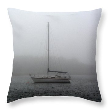 Sailboat In The Fog Throw Pillow by Dan Williams