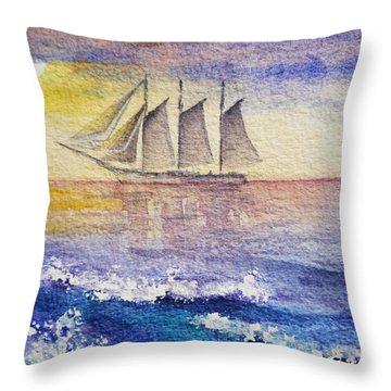 Sailboat In The Ocean Throw Pillow by Irina Sztukowski
