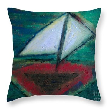 Sailboat Throw Pillow by Jacqueline McReynolds