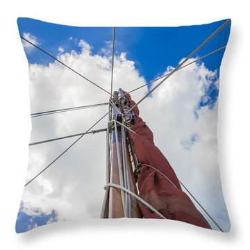 Throw Pillow featuring the photograph Sailboat Mast 1 by Leigh Anne Meeks
