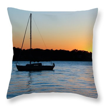 Sailboat Moored At Sunset Throw Pillow by Ann Murphy