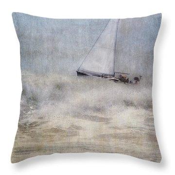 Sailboat On High Seas Throw Pillow