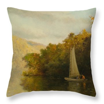 Sailboat On River Throw Pillow