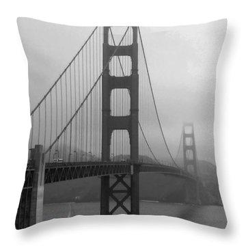 Sailboat Passing Under Golden Gate Bridge Throw Pillow by Connie Fox