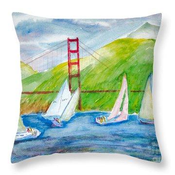 Sailboat Race At The Golden Gate Throw Pillow