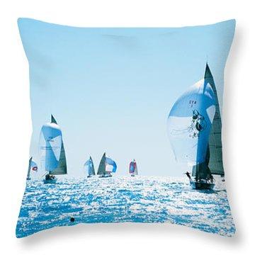Sailboat Race, Key West Florida, Usa Throw Pillow