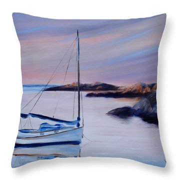 Sailboat Reflections I Throw Pillow by Donna Tuten