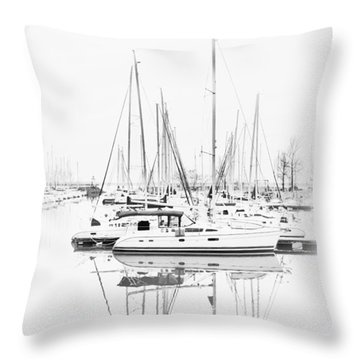 Sailboat Row  B/w Hi-key Throw Pillow by Greg Jackson